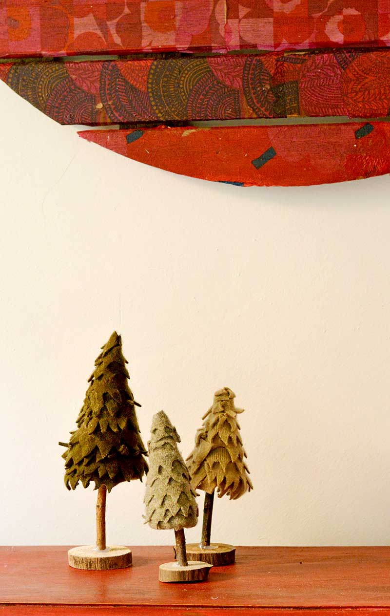 Use felt scraps from recycled sweaters to make felt Christmas trees for a really cute Christmas decoration.