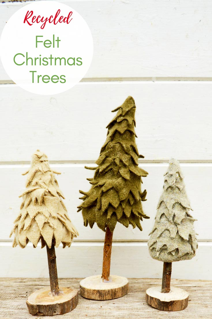 Make a cute upcycled felt Christmas tree from recycled sweater felt. Together in a group, they make a lovely Christmas decoration on the mantle.  #Christmas #Christmastree #Christmascraft #recycledChrismtas #Christmasdecoration #felt