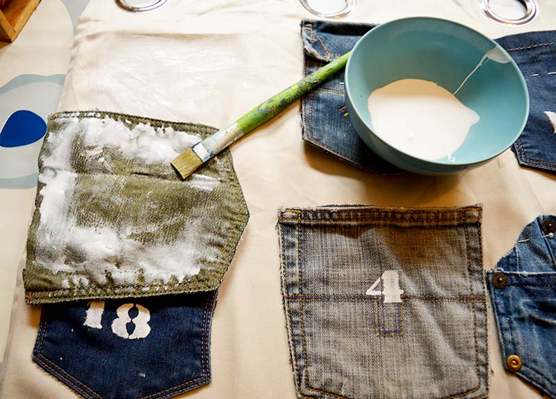 glueing denim pockets s