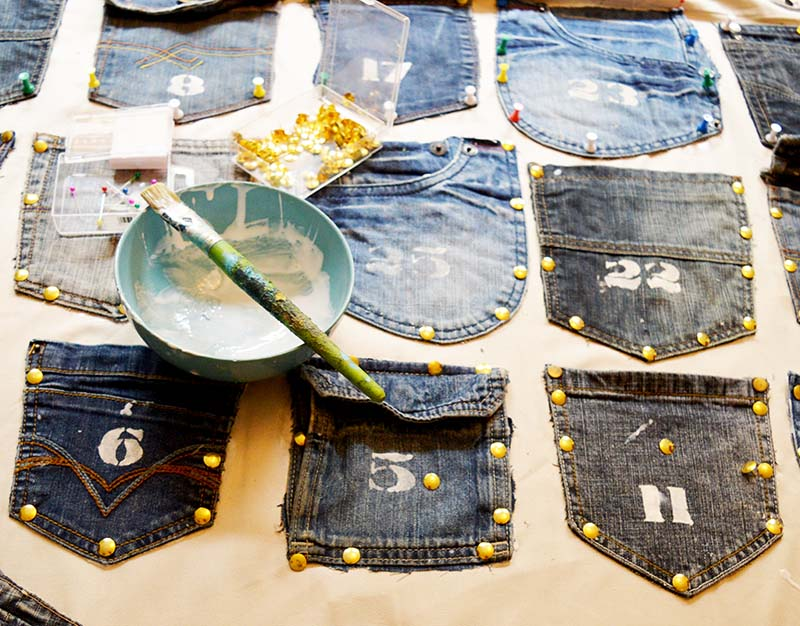 glueing denim pockets to curtain s