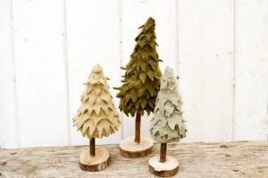 How to make cute upcycled felt Christmas trees from old sweaters