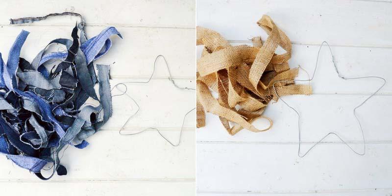 strips of denim and burlap for making rustic stars
