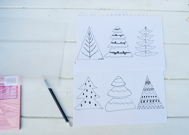 Christmas tree designs for homemade stamps