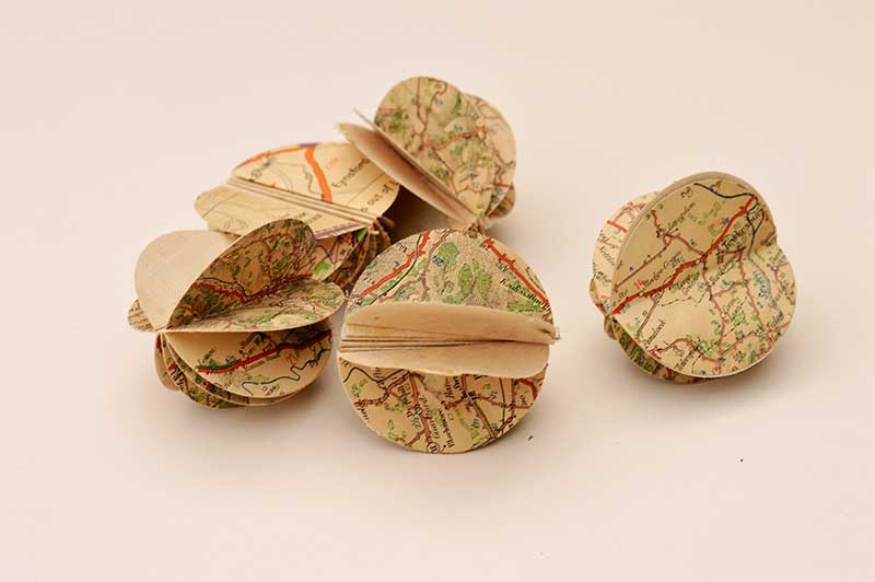 Paper Map Christmas Ornaments