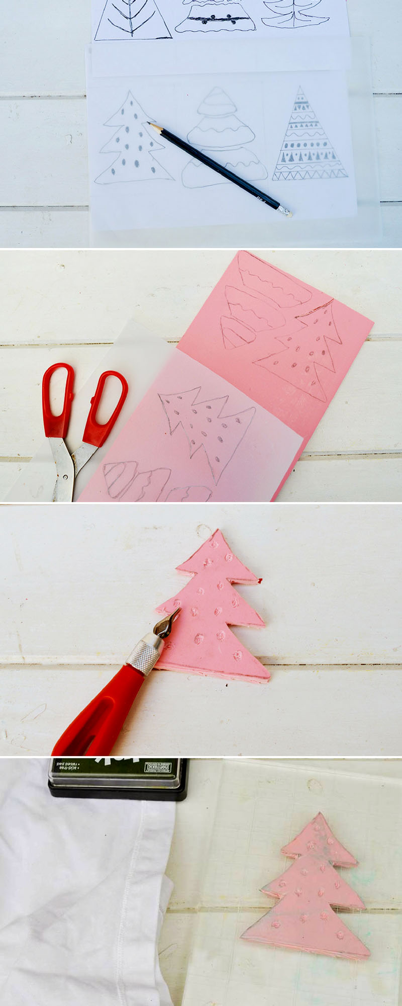 How to make your own Christmas tree stamp