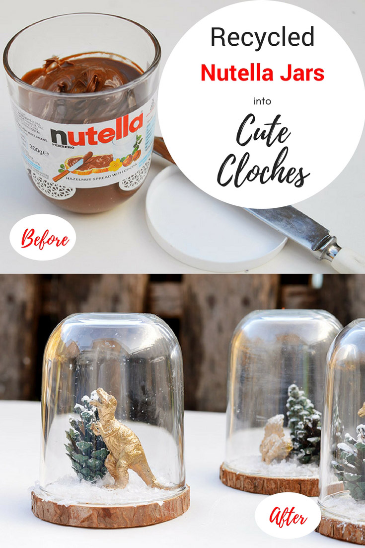Add a bit of fun to you Christmas decorations by repurposing an Nutella jar into a super cute Christmas cloche (dinosaur terrarium).