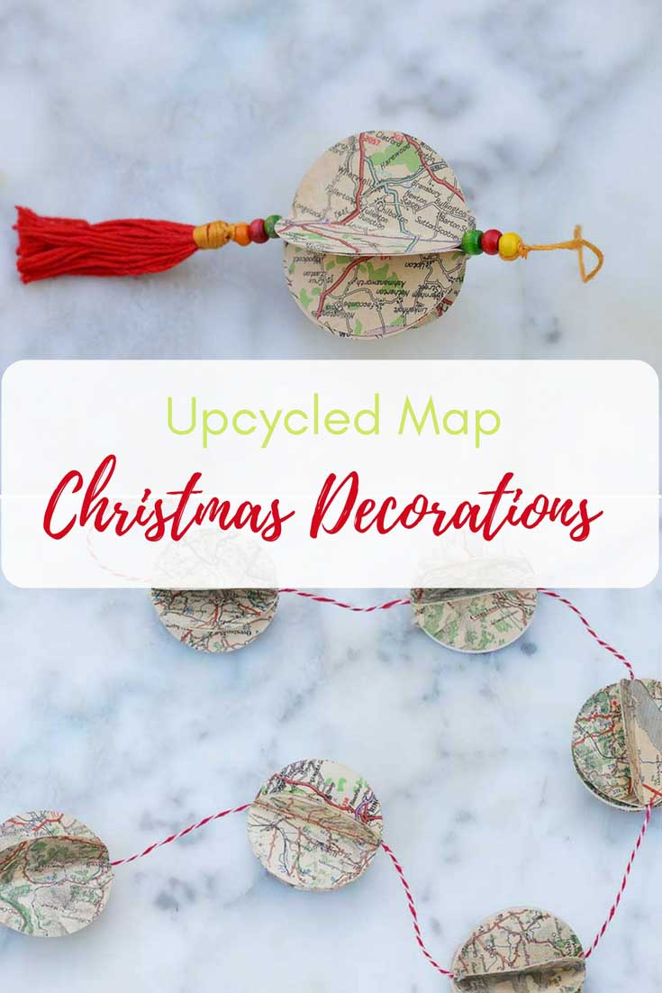 Upcycle and repurpose old road maps to make unique map decorations.  Make a Christmas ornament or a gorgeous garland to decorate your home. #mapdecoarations #mapcrafts #christmascrafts #christmasdecoration #mapchristmas