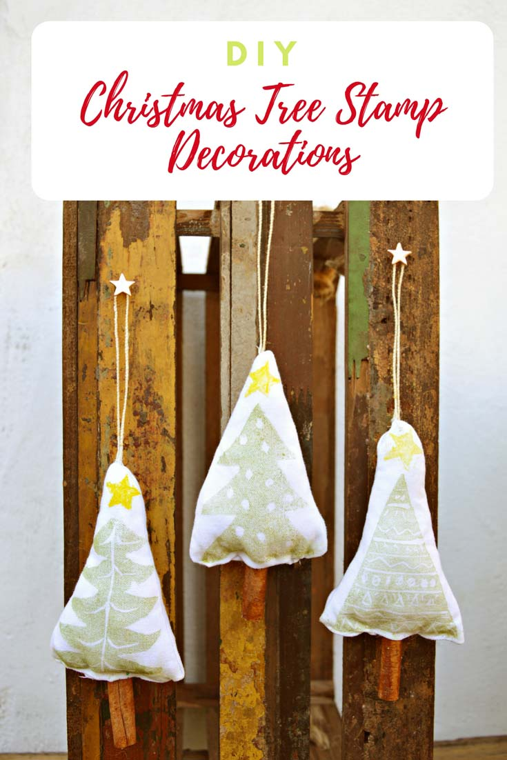Design and make a Christmas tree stamp. Use this to create some gorgeous cinnamon scented Christmas tree decorations for your tree or to hang in a garland. #Christmascraft #Christmasdecoration #Christmastree #stamp #DIYstamp