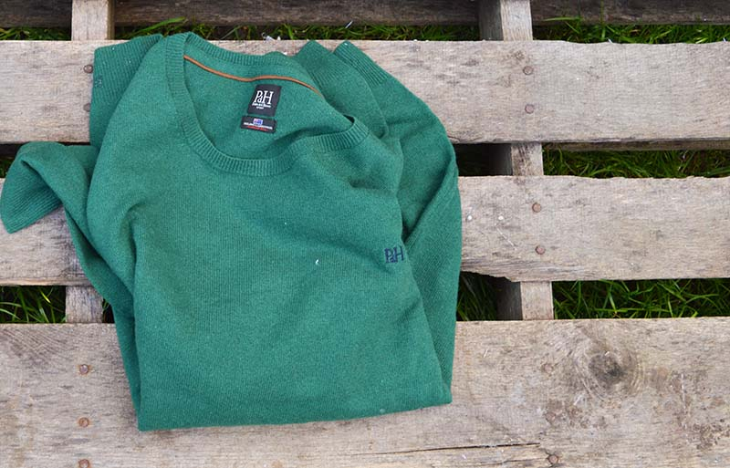 Green sweater before