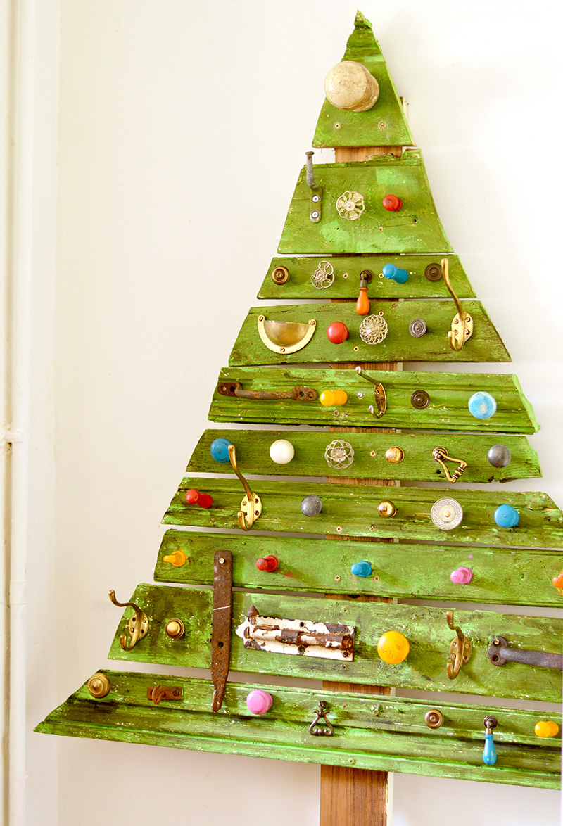 Unique DIY Wooden Christmas Tree With Knobs On - Pillar Box Blue