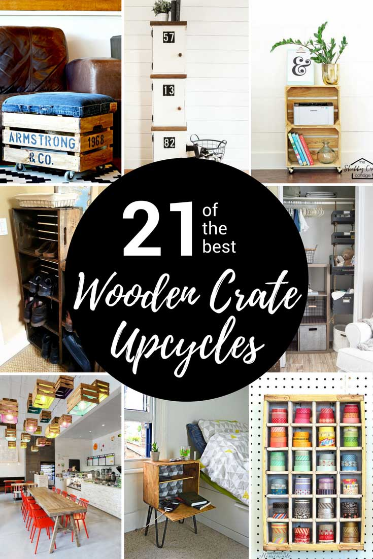 Old wooden crates are a cheap and stylish way to create furniture and extra storage for your home. Here are 21 of the best wooden crate repurposing ideas. #oldwoodencrae #woodcrate #applecrate #winebox #repurposedcrate