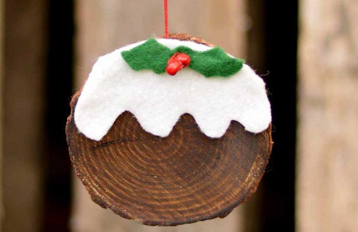 How To Make A Christmas Pudding Wood Slice Ornament