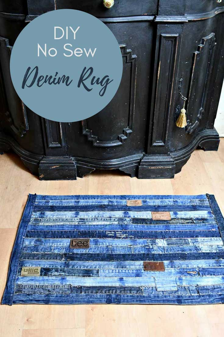 Unique denim rug made from repurposed jeans waistband. Full tutorial with no sewing involved. #denimrug #rug #upcycleddenim #repurposeddenim #diyrug #IKEAhack