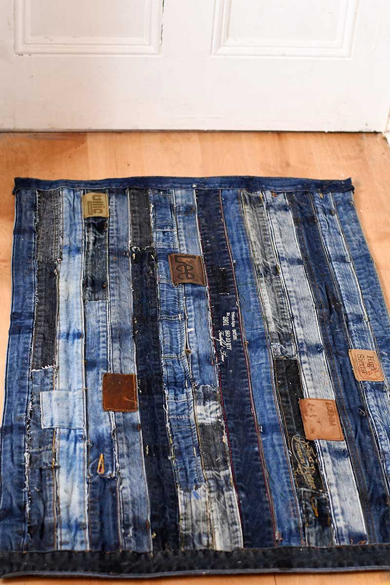 How To Make A Cool Denim Rug Without Sewing Pillar Box Blue