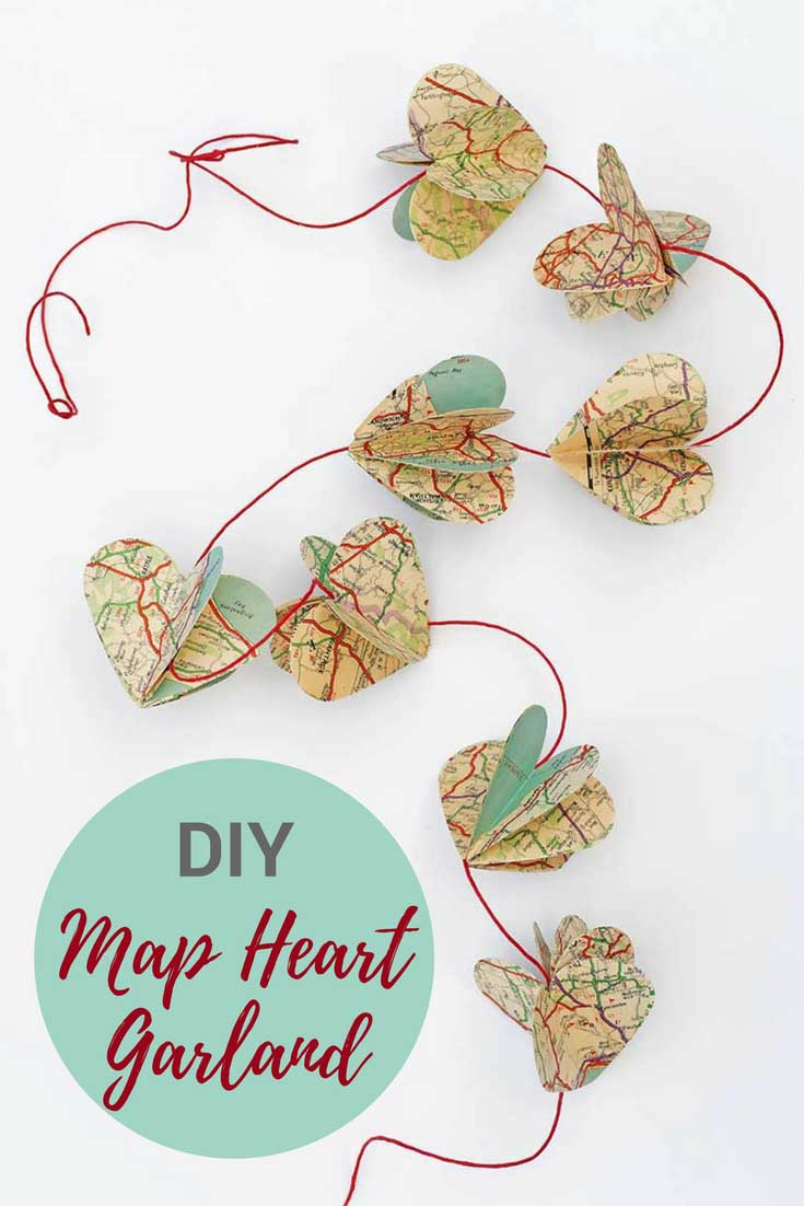Paper heart garland made from heart map shapes