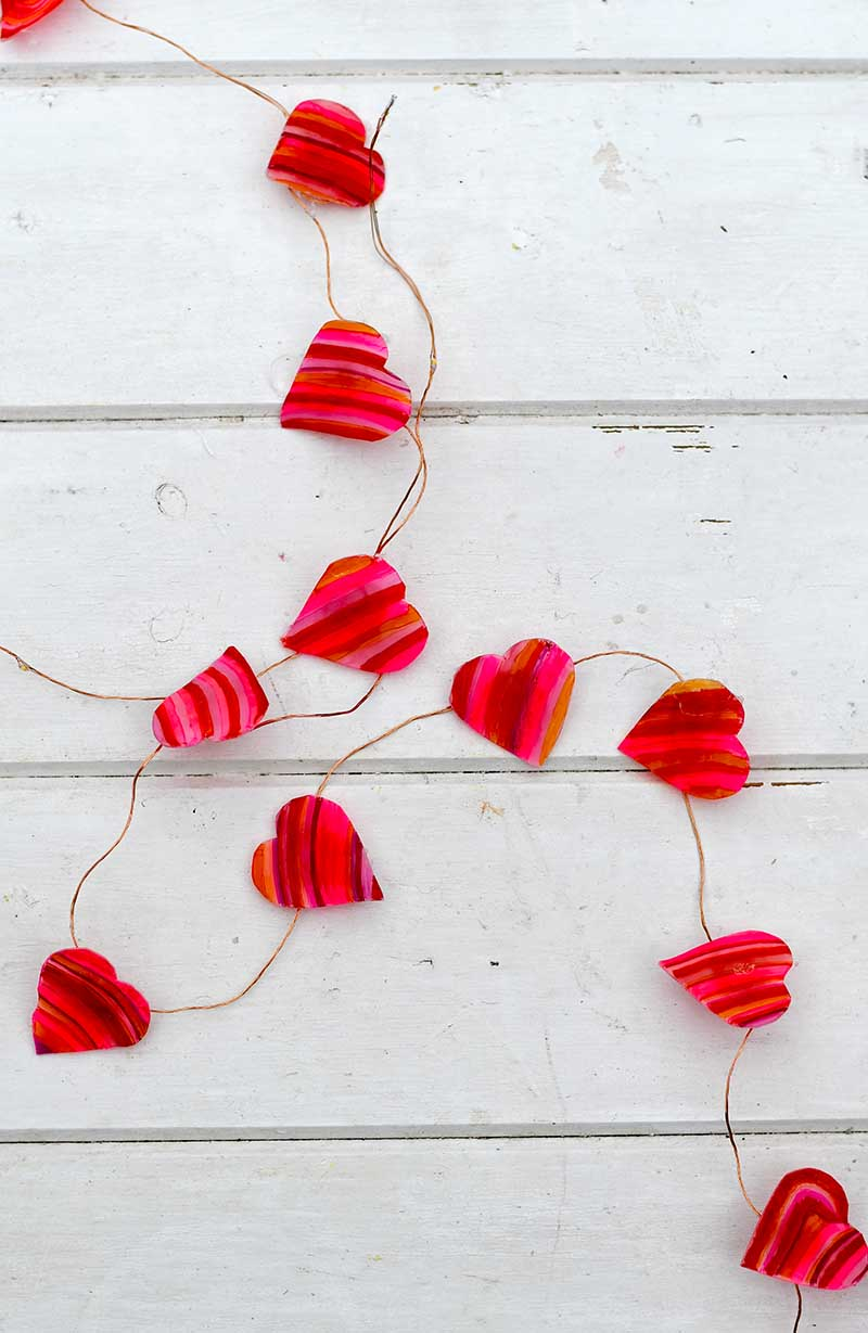 heart string lights made from shrink plastic and sharpies for Valentines day.