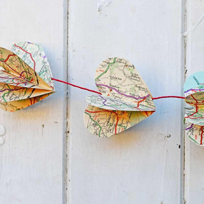 Map heart garland close up