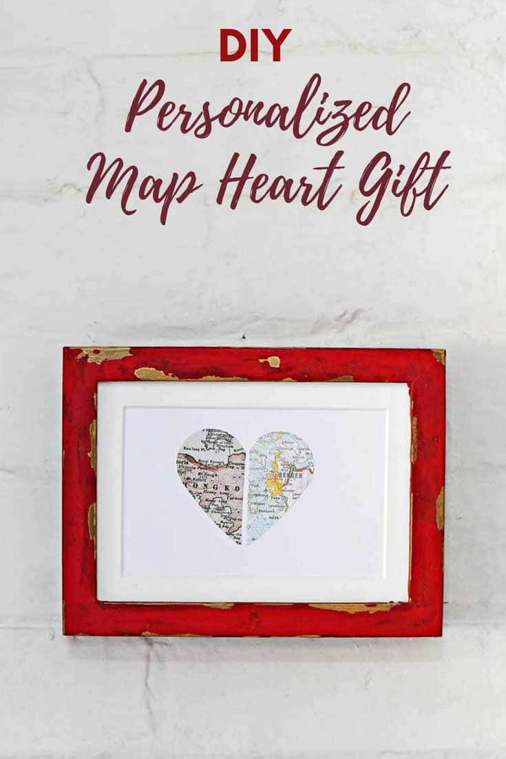 paper heart map in red Ikea Ribba frame hack