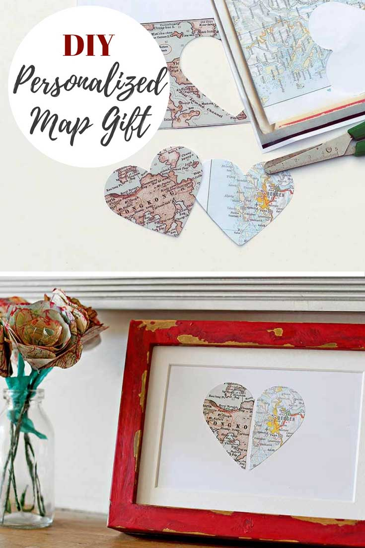 Paper cut map hearts for a personalized gift in a red frame