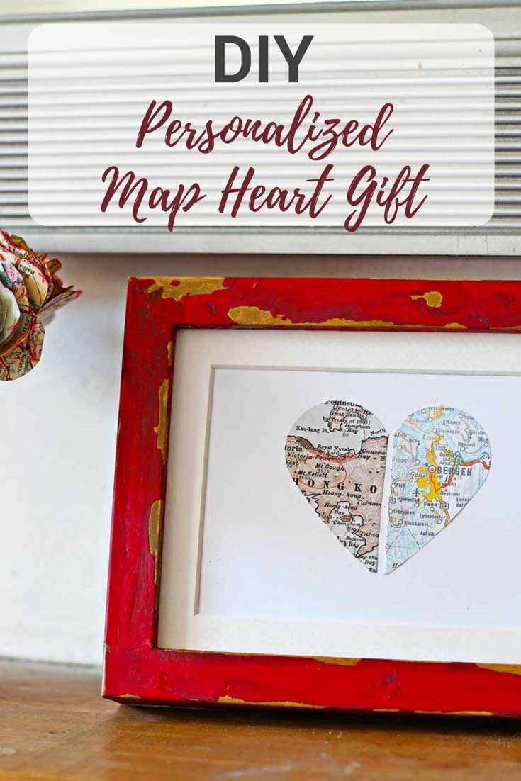 Paper personalized map gift heart in a red & gold painted IKEA Ribba frame