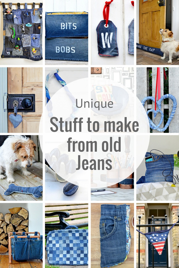 Unique upcycled denim and repurposed jeans ideas for the home.