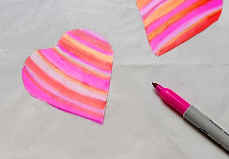 colouring in heart shrink plastic