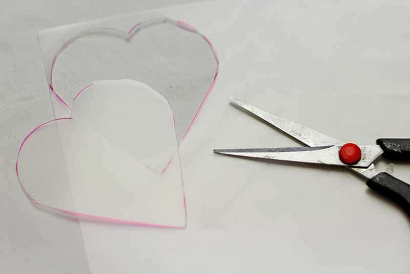 Cut out heart of shrink plastic