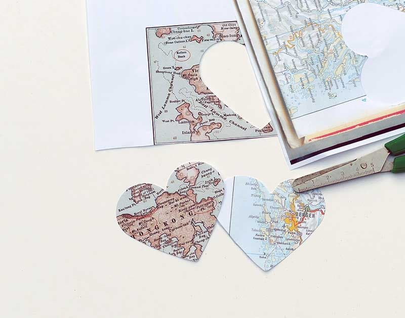 Cutting out map hearts