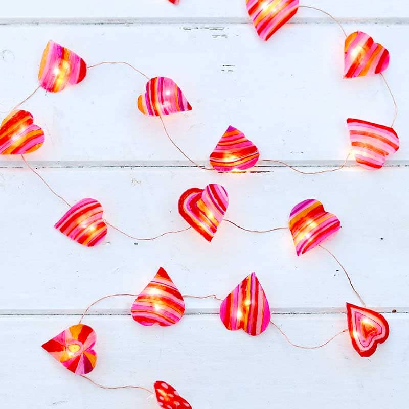heart string lights made from shrink plastic