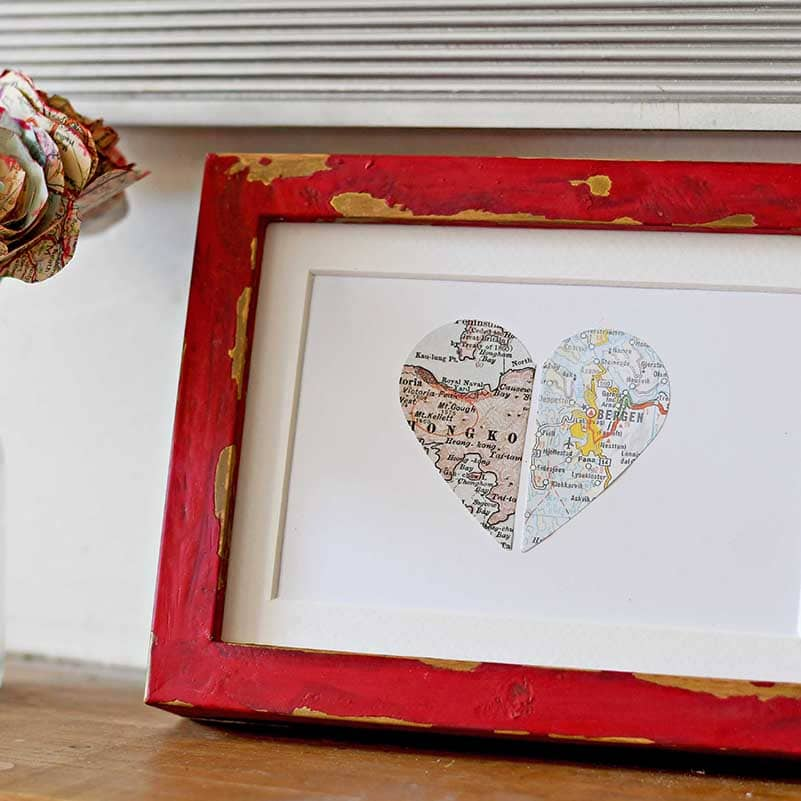 Personalized map gift paper heart in IKEA ribba frame hack.