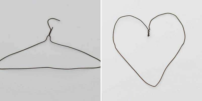 shaping a wire hanger into a heart shape