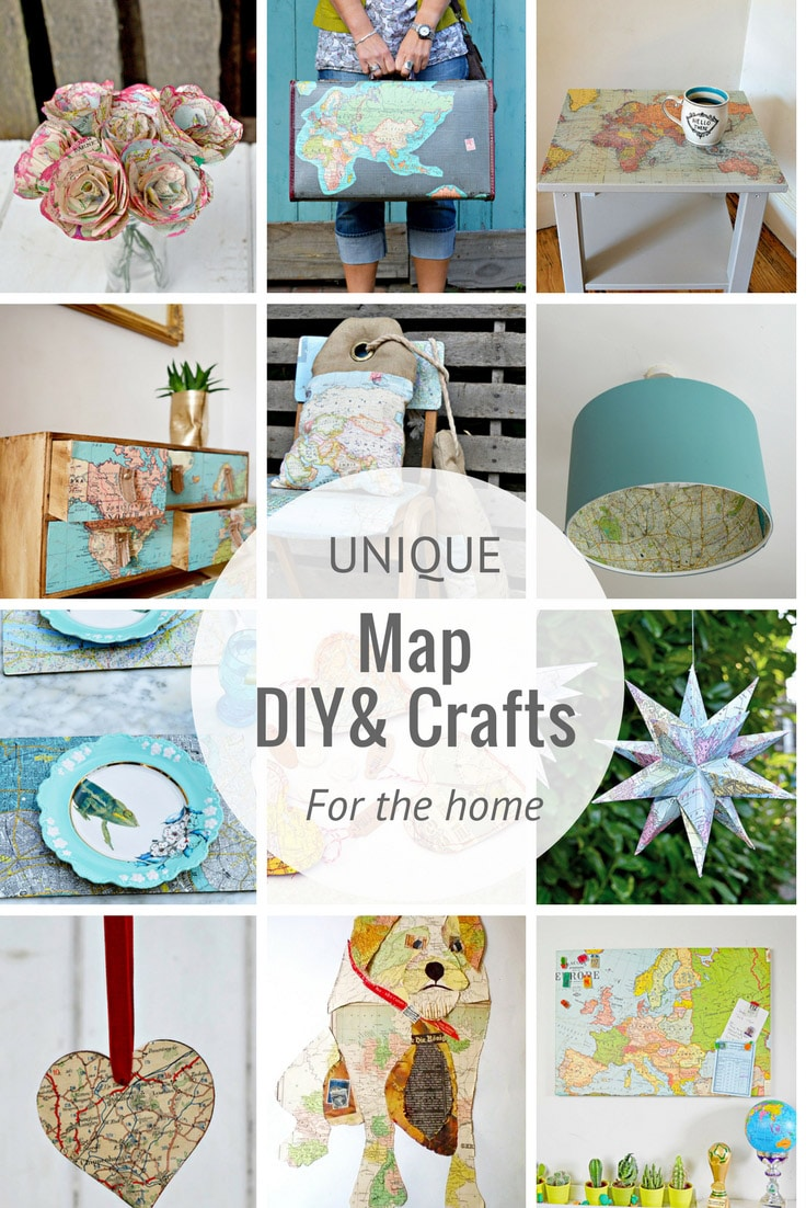 Collection of map crafts and DIY's for the home.