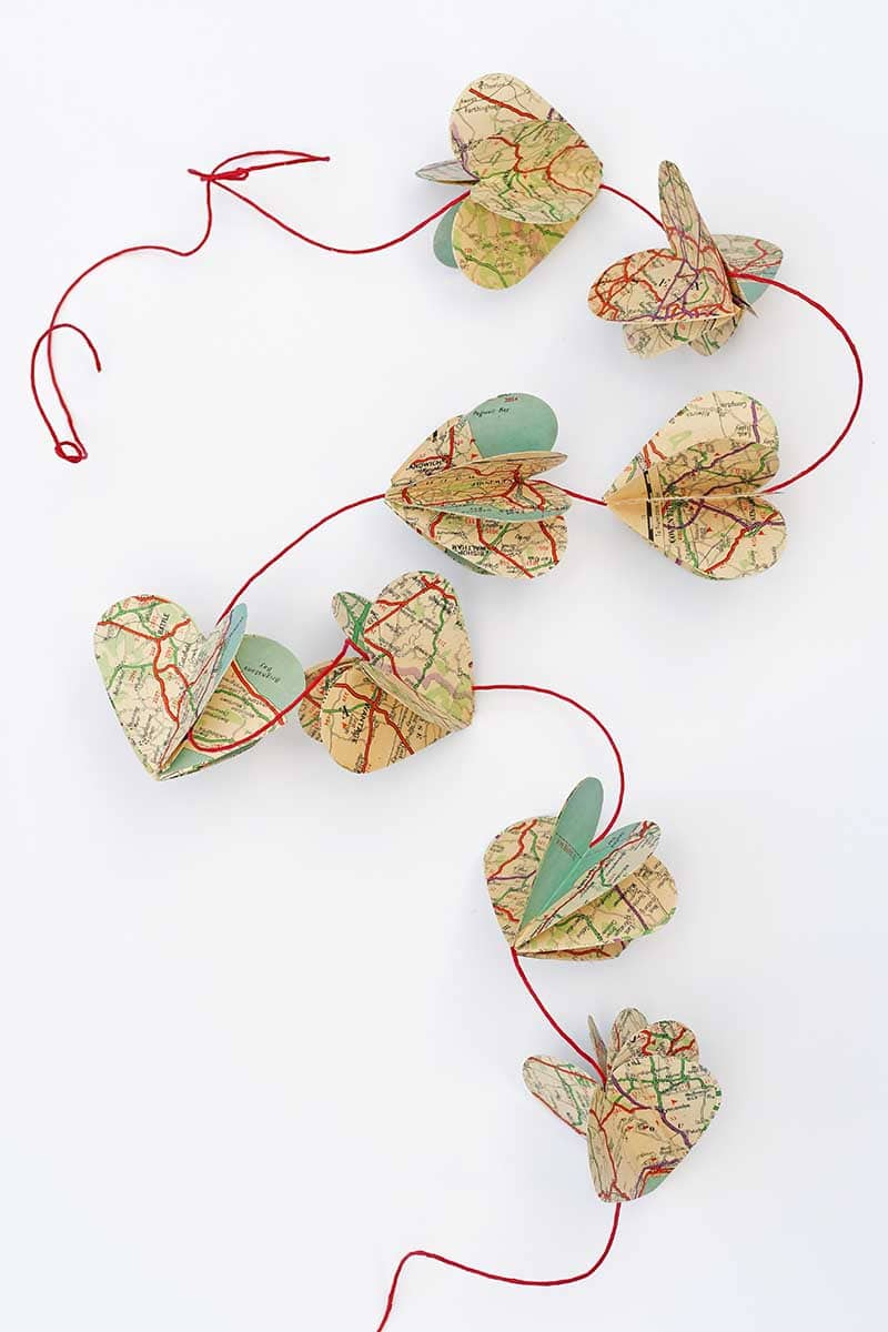 paper map garland made from hearts