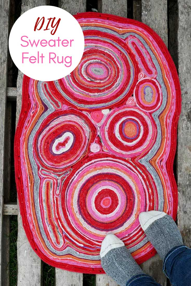 Pink Red rug made from old sweaters