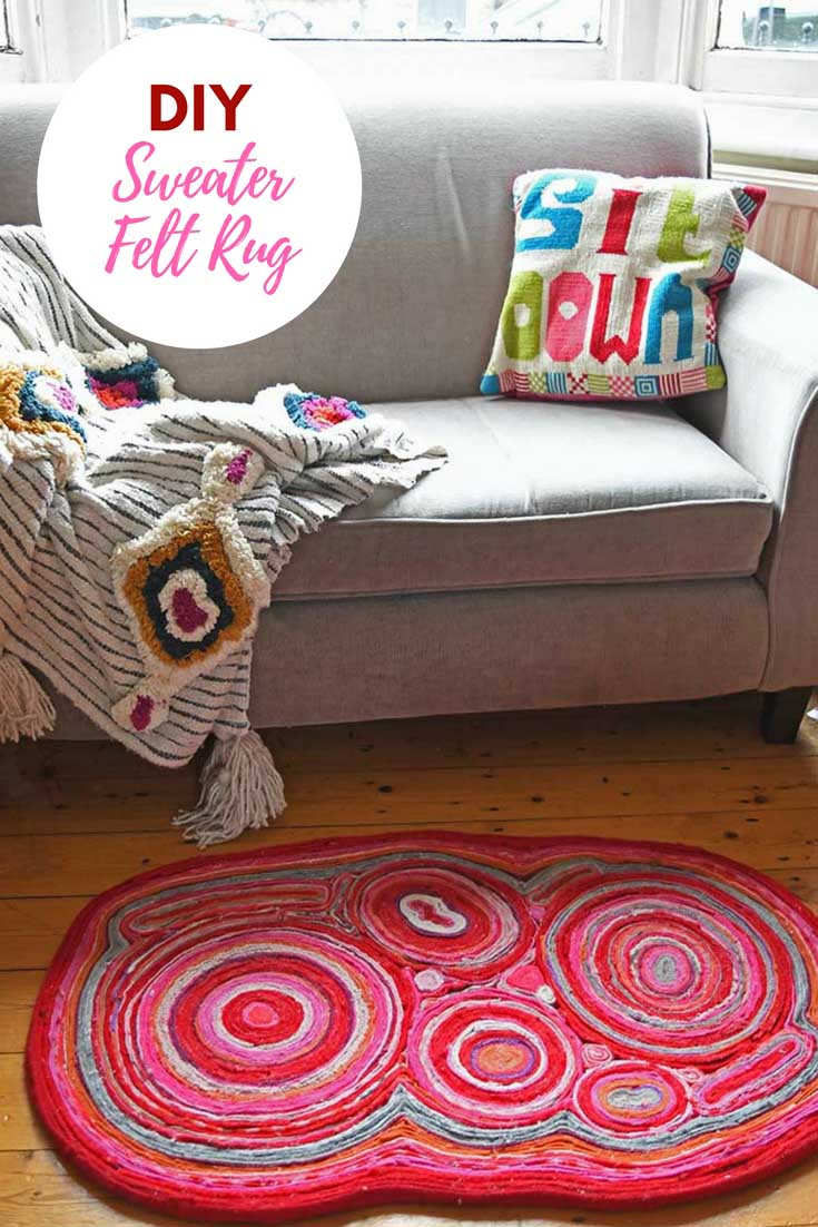 DIY sweater felt rug made from upcycled old sweaters soft on the feet.