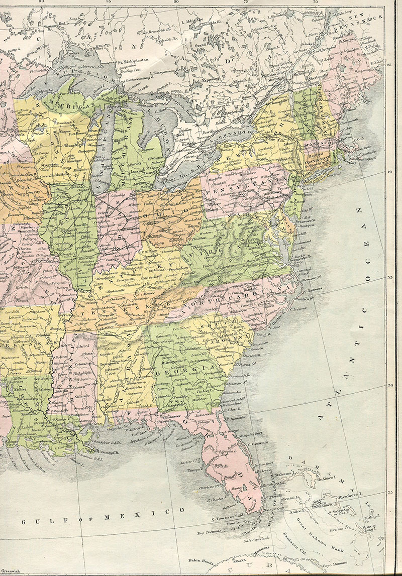 Vintage Map Eastern USA