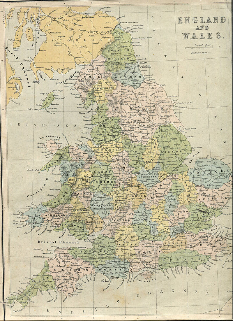 Vintage map of England And Wales