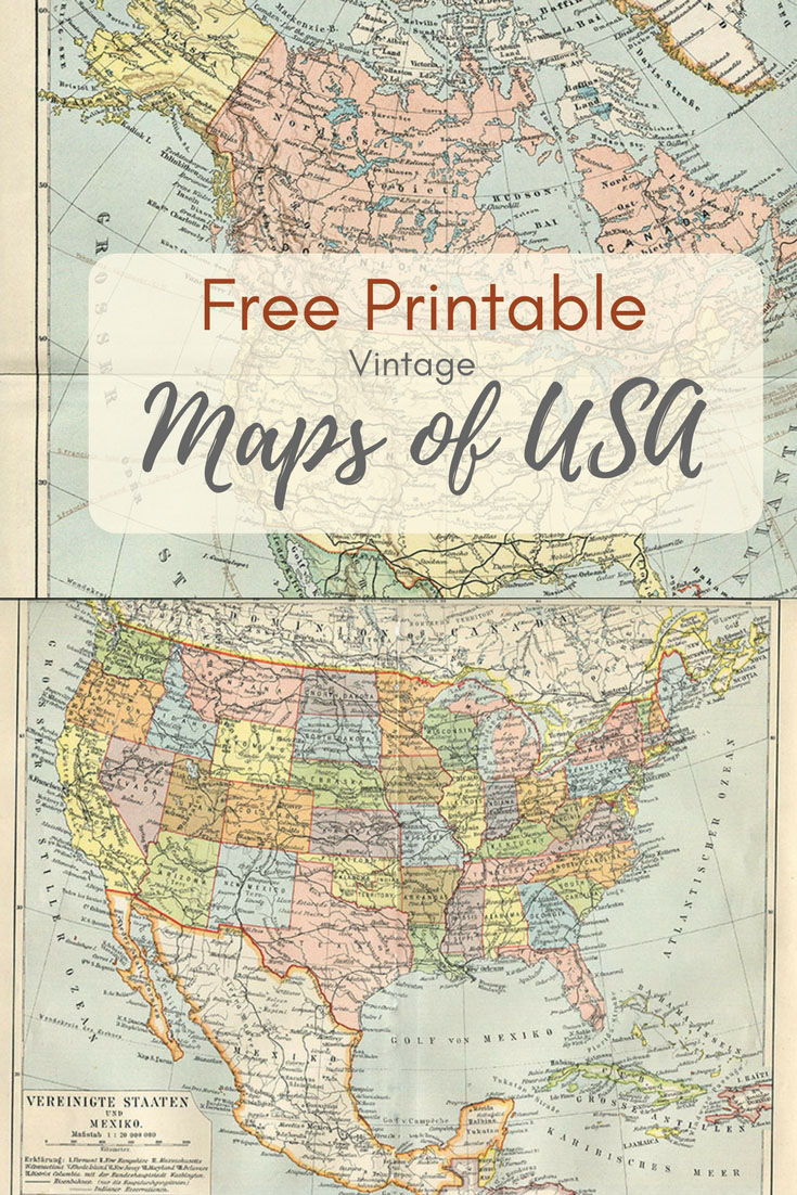 Wonderful free printable vintage maps to download pillar box blue free printable usa maps printable vintage maps gumiabroncs Images