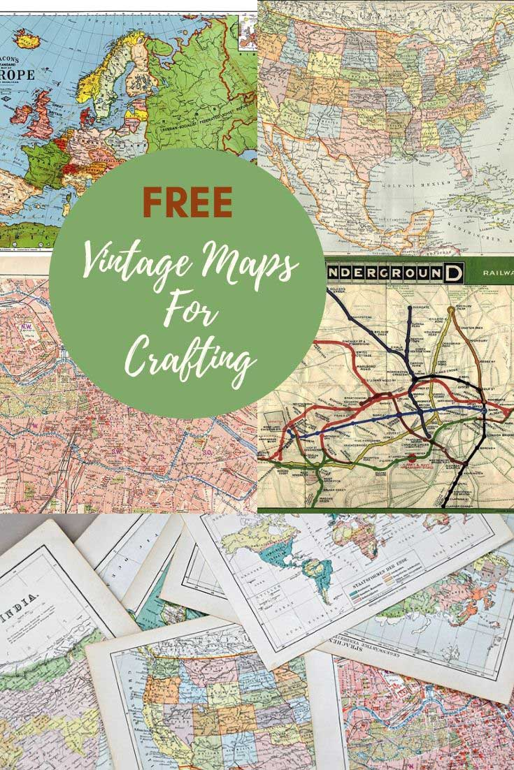 Free Printable vintage maps for crafts