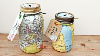 map mason jar bank