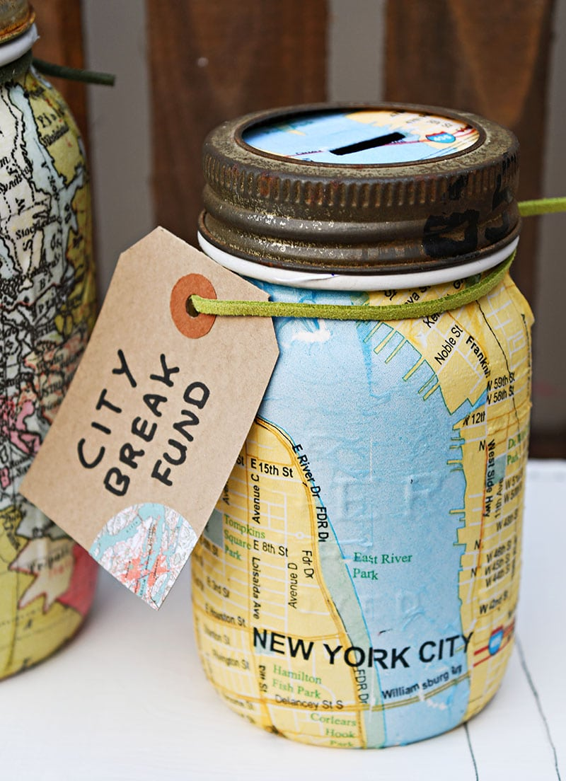 New York Map Mason Jar Bank