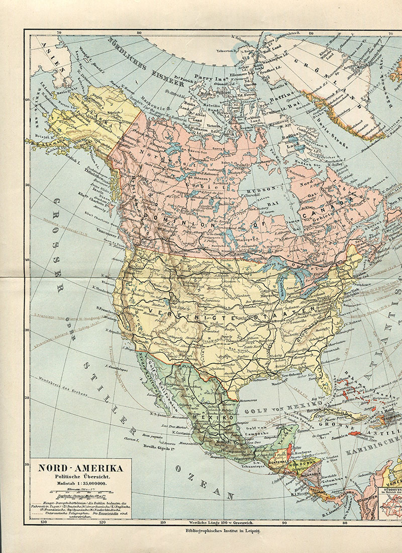 Vintage Map North America