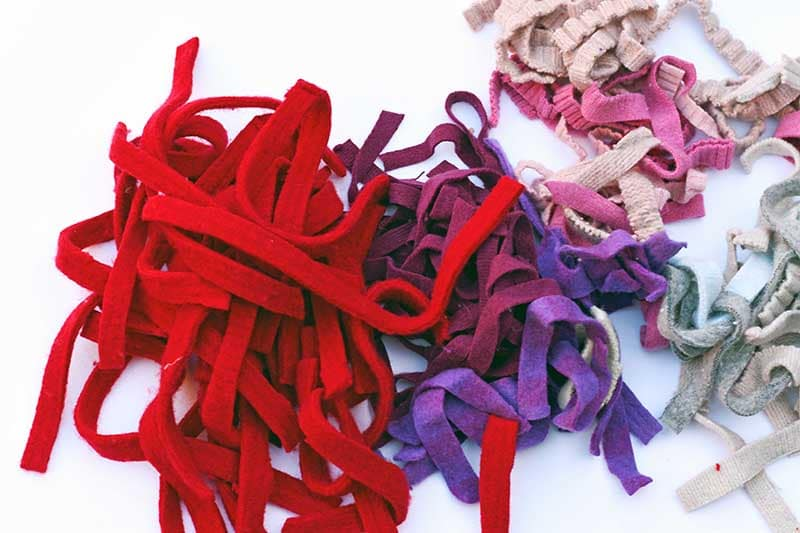 7mm strips of sweater felt in red and purple