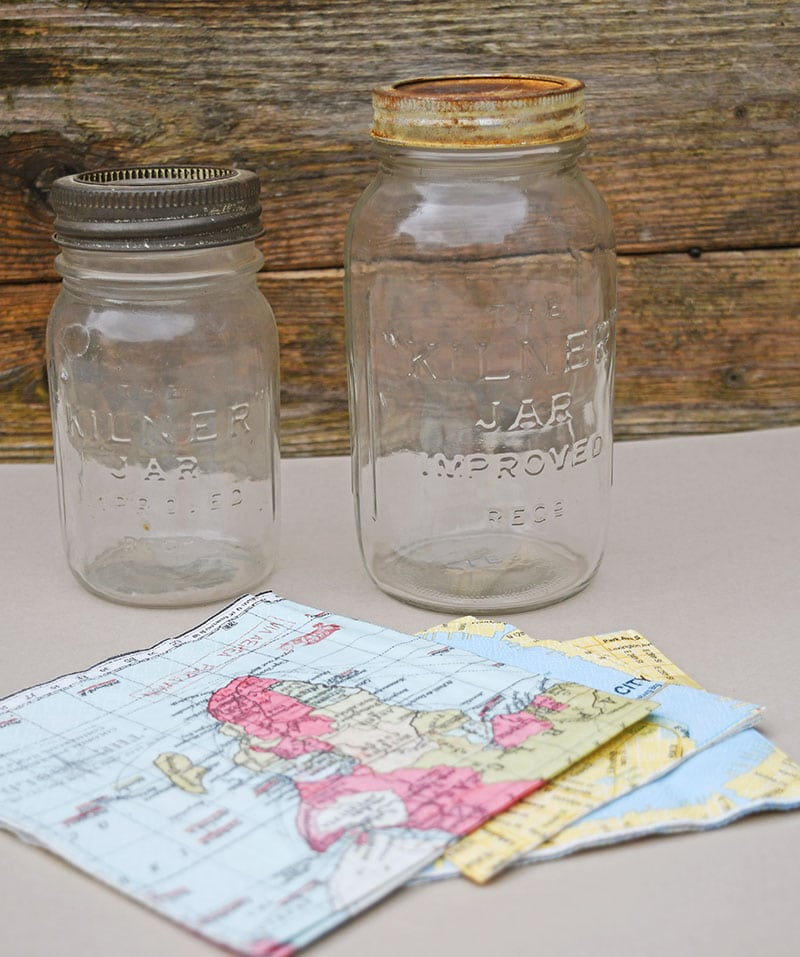 Mason Jar and map paper napkins