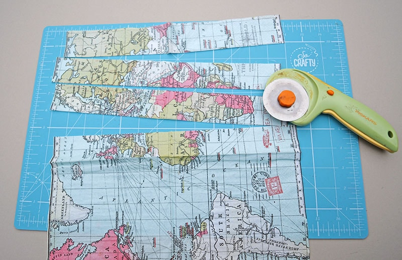World map paper napkin cut