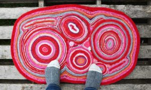 Felt rug made from old sweaters