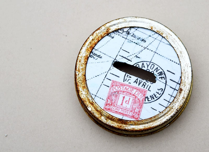 Mason jar map money box lid