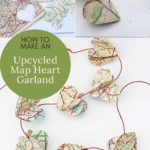 Upcycled map heart garland