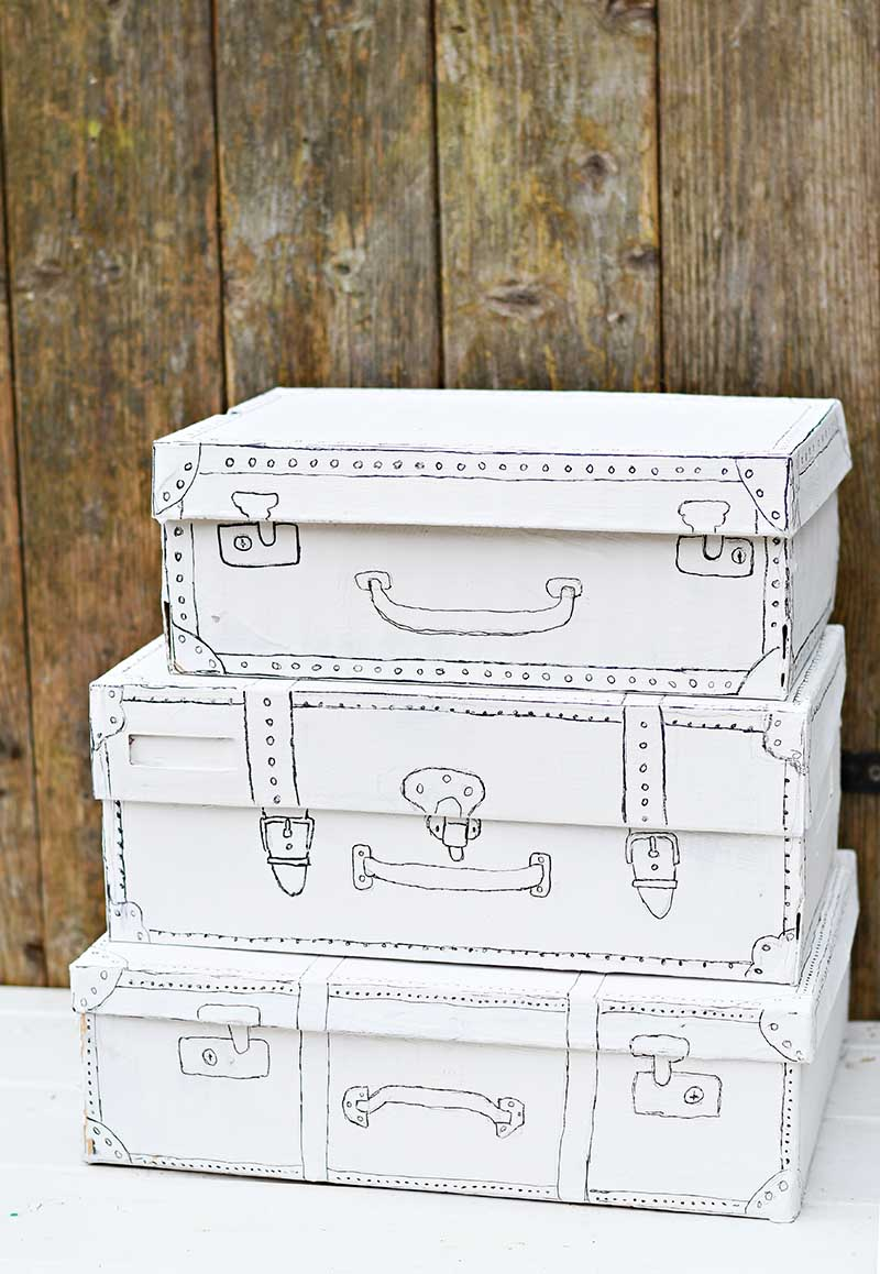Shoe box craft storage vintage suitcase style