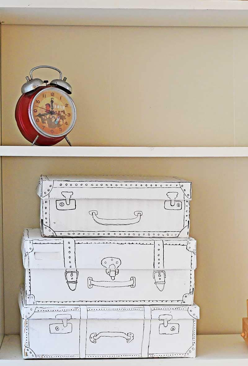 Shoe box craft suitcase doodle